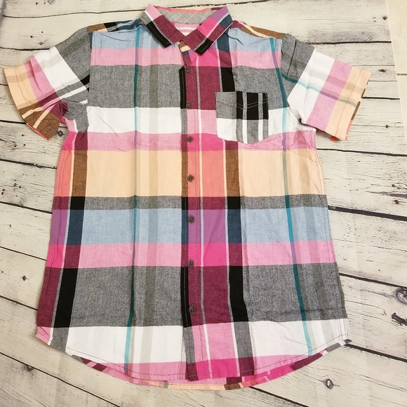 256b0311 Cat & Jack Shirts & Tops | Boys Short Sleeve Button Down Pink And ...